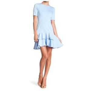 Love ady double ruffle ponte blue dress NWT